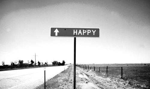 Happy Forward Sign on Road in black and white